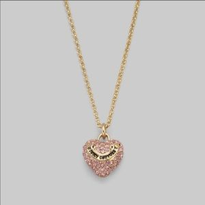 Juicy Couture Pink Pave Heart Gold Tone Necklace